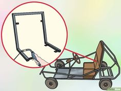 How to Create a Go Kart with a Lawnmower Engine. Though go-karts traditionally use horizontal mount engines, with a little modification, you can install a vertical shaft lawnmower engine to be the driving force behind your homemade racing. Build A Go Kart, Diy Go Kart, Drift Trike Wheels, Kids Go Cart, Go Kart Designs, Go Kart Kits, Go Kart Plans, Go Kart Frame Plans, Homemade Go Kart