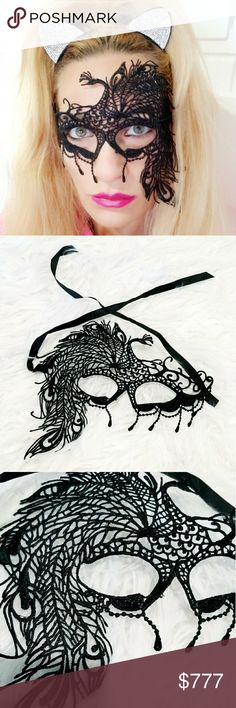 BLACK LACE MASQUERADE MASK BRAND NEW   MODA ME COUTURE peacock black lace masquerade mask. Ties around head.  Halloween party Vegas dress up party costume masks MODA ME COUTURE Accessories