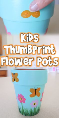 flower pots outdoor Let's make these adorable Kids Thumbprint Flower Pots today! I think these are the perfect craft for artistic kids, and make amazing gifts too. Grandmas Mothers Day Gifts, Homemade Mothers Day Gifts, Mothers Day Crafts For Kids, Easy Crafts For Kids, Diy For Kids, Flower Pot Art, Flower Pot Crafts, Clay Pot Crafts, Plate Crafts
