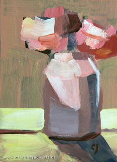 """Buy REAL art!! I am in love with this affordable, original still life. Would be perfect in a gallery collection. Pink Floral painting 5x7"""" small original acrylic on panel pink roses yellow white flower impressionist still life fine art by Cristina Jacó @cristinajaco"""