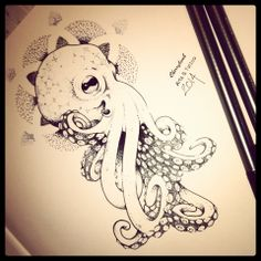 (Octopus tattoo sketch Dotwork By CBA 2014) Ive wanted an octopus for a while now. This is what I had in mind. Glad I found one
