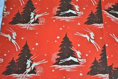 Vintage Christmas Wrapping Paper - Leaping Deer on Red - Two Sheets NOS
