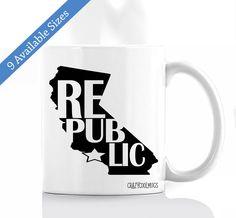 California Republic Coffee Mug, California Coffee Mug, California Mug, California, Republic, Republic Coffee Mug