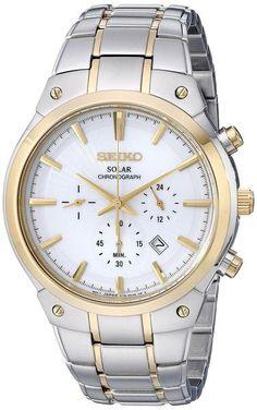 Seiko SSC318 Men's Watch Two-Tone Solar Chronograph White Dial