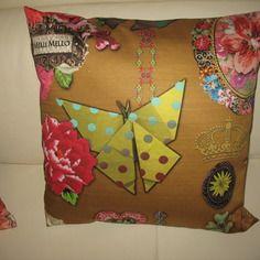 Housse de coussin 40 x 40   papillon origami , pivoine multicolore port offert