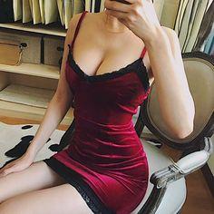 Gothic Goth Lace Trim Velvet Mini Party Dress Bodycon Red Grey