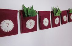 hand stitched and embroidered. 12 pockets ready to fill with gifts.