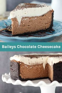 This Baileys Chocolate Cheesecake only requires a few simple ingredients for this show stopping dessert. Silky chocolate cheesecake is infused with Baileys Irish Cream liquor and topped with a Baileys Whipped Cream! Baileys Cheesecake, Cheesecake Toppings, Chocolate Cheesecake Recipes, Chocolate Pies, Cheesecake Desserts, Chocolate Cream, Fun Desserts, Delicious Desserts, Dessert Recipes