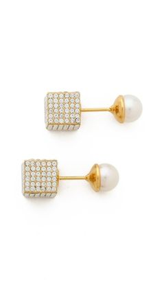Vita Fede Double Cubo Pearl Earrings – $620.00 Shopbop. These babies are in our Holiday Wishlist closet! Build a Holiday Wishlist Closet at www.BattleShop.co today!