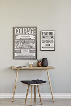 I LOVE MY TYPE | typographical posters + minimal desk for slim living