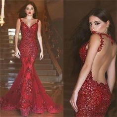 Red Mermaid Backless Sexy Party Evening Long Elegant Prom Dresses Online,PD0077 The dress is fully lined, 4 bones in the bodice, chest pad in the bust, lace up back or zipper back are all available, t