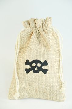 Pirate Party Favor Bags with skull Set of 10 bags by mapetitefete