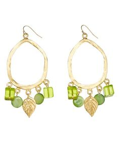 This Green Leaf Gold Drop Earrings is perfect! #zulilyfinds