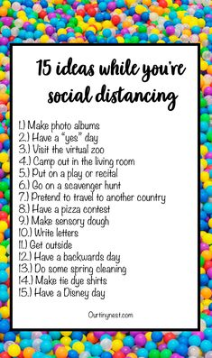 No doubt you& going to be spending more time with your kids and you& probably wondering how to keep them entertained. Here are 15 things to do with your kids while you& social distancing Productive Things To Do, Things To Do At Home, Random Things To Do, Fun Stuff To Do At Home, Fun Things, Self Care Activities, Activities To Do, Summer Activities, Indoor Family Activities