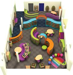 Bright and Colourful Primary School Library Design created by Incube Ltd Helles und farbenfrohes Design der Grundschulbibliothek von Incube Ltd School Building Design, School Library Design, Home Library Design, Kids Library, Kids Room Design, Classroom Design, Classroom Decor, Design Desk, Kindergarten Interior