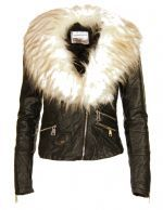 NEW WOMENS LADIES COLLAR FAUX FUR LEATHER PVC BOMBER BIKER CROPPED ZIP UP JACKET (1)