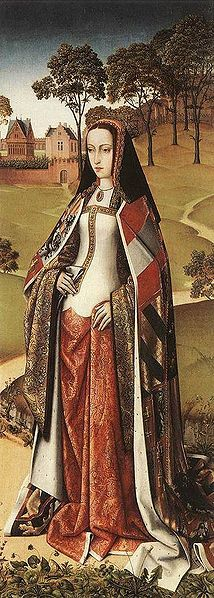 """Juana the Mad"" (Joanna of Castile) is depicted in the royal ermine-trimmed sideless surcoat and a symbolic mantle with heraldic decoration. c 1499"