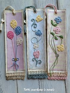 Corda e Crochet Embroidery Stitches, Embroidery Patterns, Hand Embroidery, Crochet Patterns, Marque-pages Au Crochet, Crochet Gifts, Felt Bookmark, Crochet Bookmarks, Crochet Projects