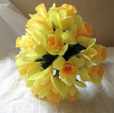 Narcisos de papel bouquet ramo de Dama de honor de por Artgidesign