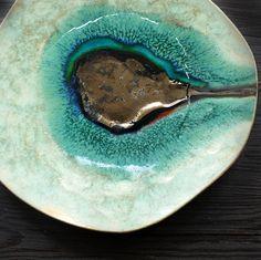 Ocean 13 decorative ceramic plate inspired by nature. 100% handmade work.