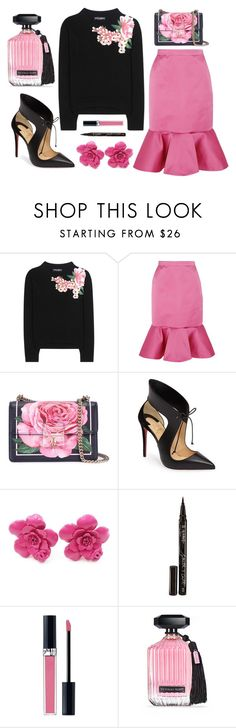 """""""Pink and Black"""" by texaspinkfox ❤ liked on Polyvore featuring Dolce&Gabbana, J.Crew, Christian Louboutin, Chanel, Smith & Cult, Christian Dior, Victoria's Secret and cashmere"""