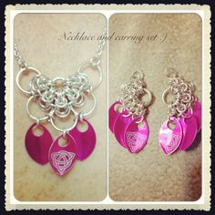 Necklace and Earring set for my best friend #ChainedDragonDes.com #jewelry #chainmail #necklace #earrings