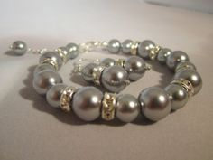 Dove Grey Bridesmaid Bracelet and Earring Set/Bridesmaid Jewelry/Wedding Jewelry/Gray Bridal Set/grey Wedding