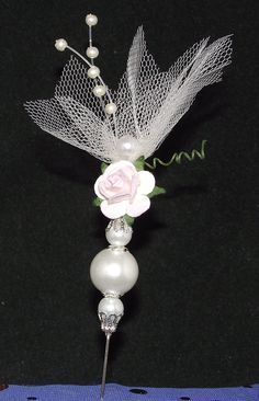 Rose and Tulle topped stick pin for paper crafts card and scrapbooking