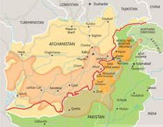 """How the colonial """"Durand Line"""" set up Afghanistan's conflict: The orange overlay shows where an ethnic group called the Pashtun lives. In the 1800s a British colonial officer named Durand negotiated the border between the British Indian Raj and the quasi-independent nation of Afghanistan across the Pashtun areas, thus guaranteeing decades of conflict by forcing Pashtuns to be minorities in both states. Many Pashtun now belong to or support a mostly-Pashtun extremist group called the Taliban."""