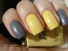 Notes on nails: Avon Speed dry+ Grey Flash & Suddenly Sunny Avon Nail Polish, Avon Nails, Nail Polish Colors, Pedicures, Manicure And Pedicure, Cute Nails, Pretty Nails, Toenails, Tips Belleza