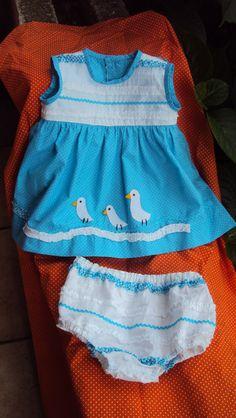 vestido e calcinha para bebé