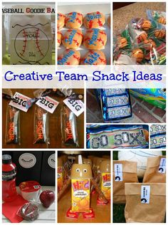 Creative team snack ideas  The Dave Krache Foundation: www.davekrache.com Helping kids play the sports they love