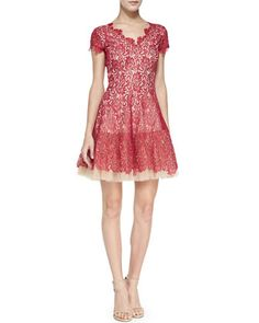 Caelyn Tulle-Hem Lace Dress, Candy Apple by Nha Khanh at Neiman Marcus.
