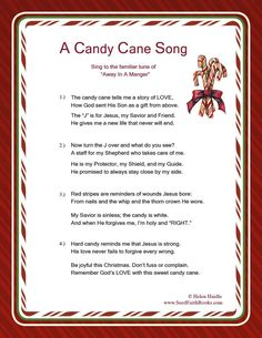 Candy Cane Legend Song – PDF Candy Cane Song Printable FREE Candy Cane Legend Song – Great resource for the meaning of the candy cane. Christmas Poems, Christmas Program, Meaning Of Christmas, Preschool Christmas, A Christmas Story, Christmas Candy, Christmas Traditions, Christmas Holidays, Christmas Crafts