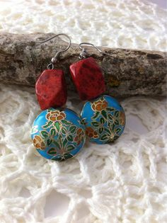 Red Coral and Cloisonne earrings Red Coral earrings by NARELO, $29.50