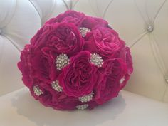 Kate David Austin rose with mint Carlo broaches