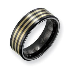 Men's 8.0mm Engraved Black Ceramic with 14K Gold Inlay Polished Wedding Band (12 Characters) - Zales