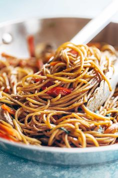 Lo Mein Noodle Close Up