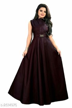 Checkout this latest Dresses Product Name: *Women's Solid Maroon Taffeta Silk Dress* Sizes: M, L, XL, XXL Country of Origin: India Easy Returns Available In Case Of Any Issue   Catalog Rating: ★4.1 (9553)  Catalog Name: Free Gift Vasavi Attractive Taffeta Silk Western Gowns Vol 3 CatalogID_338336 C79-SC1289 Code: 182-2514975-846