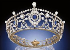 This is the Portland Sapphire Tiara. It was created around 1890, probably by Garrard. The 6th Duke of Portland bought it for his wife, Winifred Dallas-Yorke. Five of the sapphires came from Ceylon, four from Burma, and the last three are anyone's guess. The pearls are all natural saltwater pearls. The Duke broke up at least three other pieces of jewelry in 1887 in order to create this new tiara. See a new tiara every Tuesday on http://JenniWiltz.com/blog. #tiaratuesday