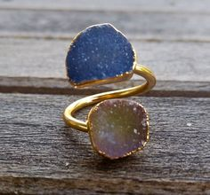 Dual Druzy Geometric Cocktail Rings