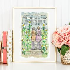 Help Somebody Today Hymn Watercolor painting Print &