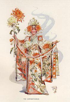 Beautiful Century: C. Wilhelm (William John Charles Pitcher), The Chrysanthemum… Fine Art Prints, Framed Prints, Canvas Prints, Victorian Books, John Charles, Fantasy Costumes, Fantasy Outfits, Vintage Cards, Belle Photo