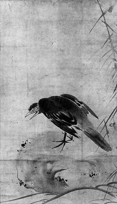 Crow on Rock, Attributed to Sesson Shukei Muromachi period (1392-1573), Japan