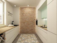 carrealge carreaux de ciment, mur en brique et plan de travail bois naturel