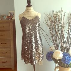 BRAND NEW W: TAGS SPARKLE SPRINKLE SILVER DRESS Brand new stunning short dress. Perfect for prom or going out or any occasion. ☂The sparkling sequence is stunning and dots so beautifully while draping over the body. Comes with tags. Excellent condition size small Express Dresses Mini