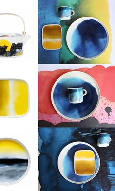 Dinnerware by Marimekko, handpainted watercolour washes Ceramic Tableware, Glass Ceramic, Ceramic Clay, Ceramic Pottery, Kitchenware, Marimekko, Keramik Design, Pottery Classes, Deco Design