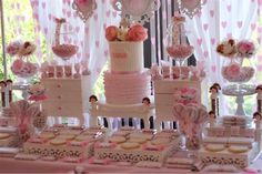 Incredible dessert table at a pink baptism party! See more party planning ideas at CatchMyParty.com!