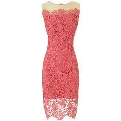 Marchesa Notte Coral Lace Dress