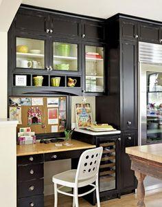 Black kitchen desk with cubbies